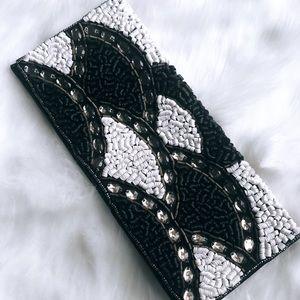 BEBE Beaded Black White Clutch Bag Crossbody NEW